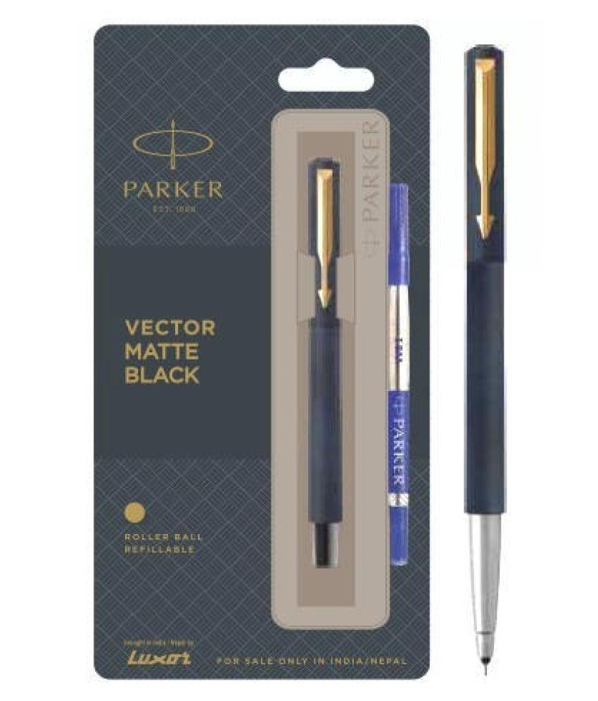 Parker Vector Matte Black GT Roller Ball Pen With Free Metal Parker Logo Key Chain