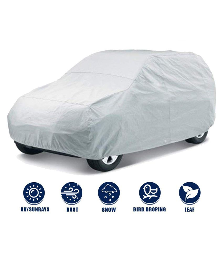 Soami Silver Matty Dust Proof Car Body Cover for Ford Figo with Triple Stitching & Light Weight (Silver Colour) Model 2017-18