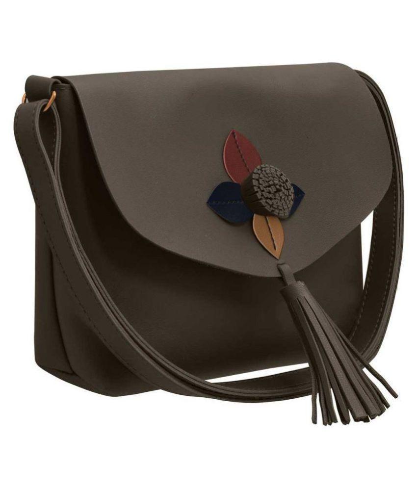 TAP FASHION Gray P.U. Sling Bag
