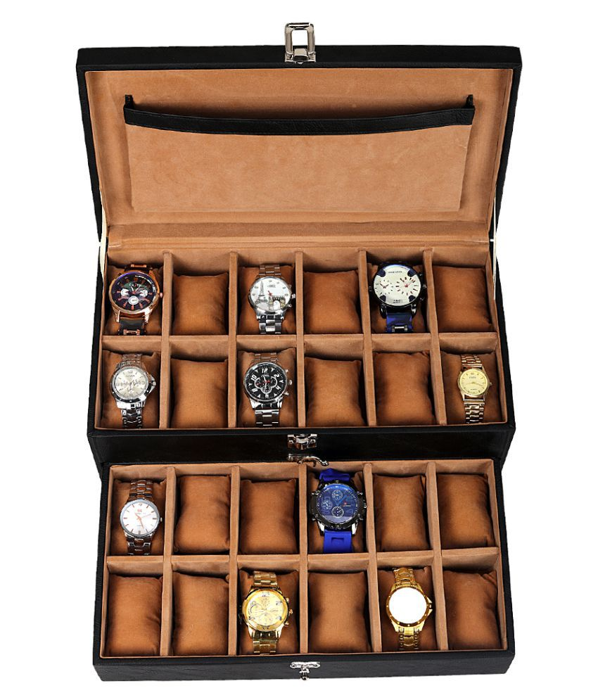 Leather Gifts 24 Black Watch Box, 24 Black Watch Organizer, 24 Black Watch Case, 24 Black Watch Storage Box
