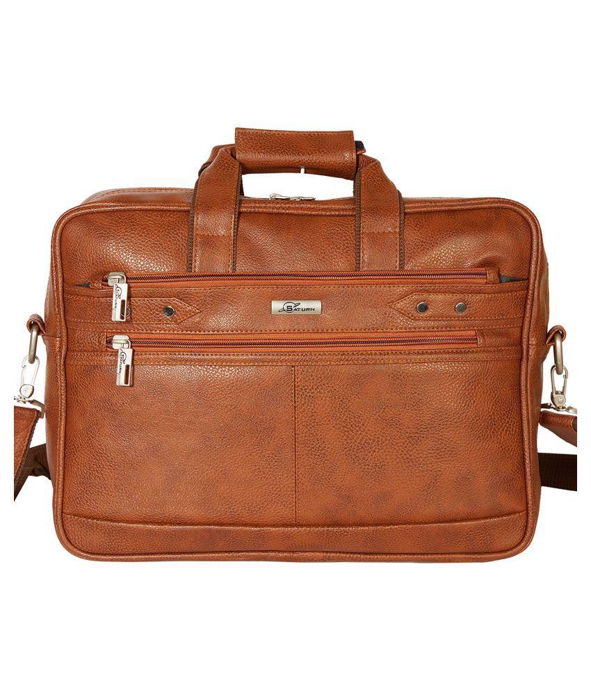 SATURN Tan P.U. Office Bag