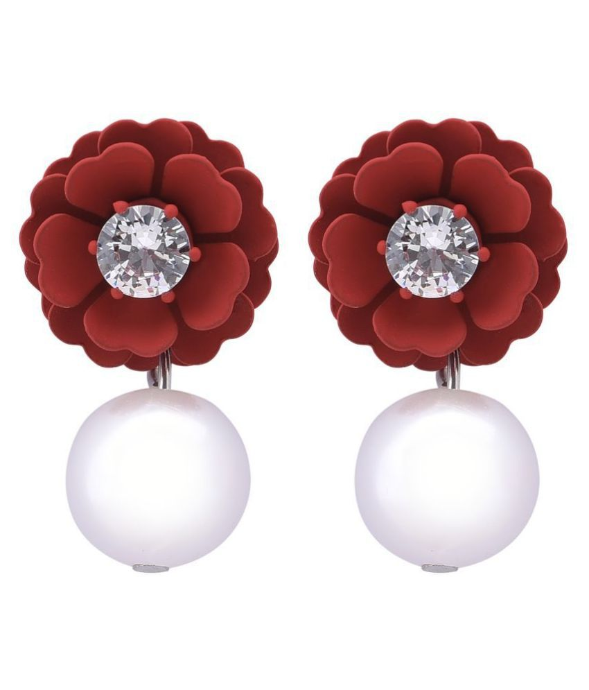 STUDIRA  Alloy Studs  Non Precious Metal Fashion Jewellery Stylish Maroon-Color Fancy Party Wear Earrings for Girls and Women