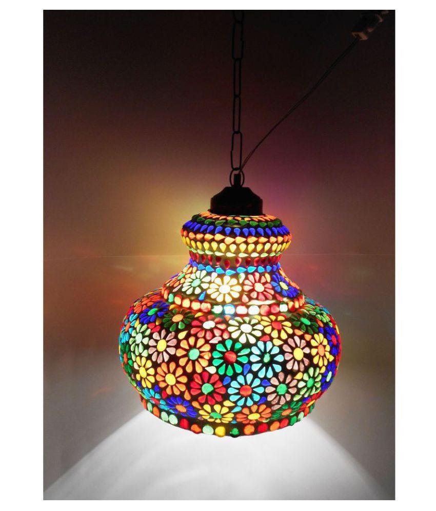 Susajjit Glass Mosaic Hanging Night Lamp Pendant Multi - Pack of 1