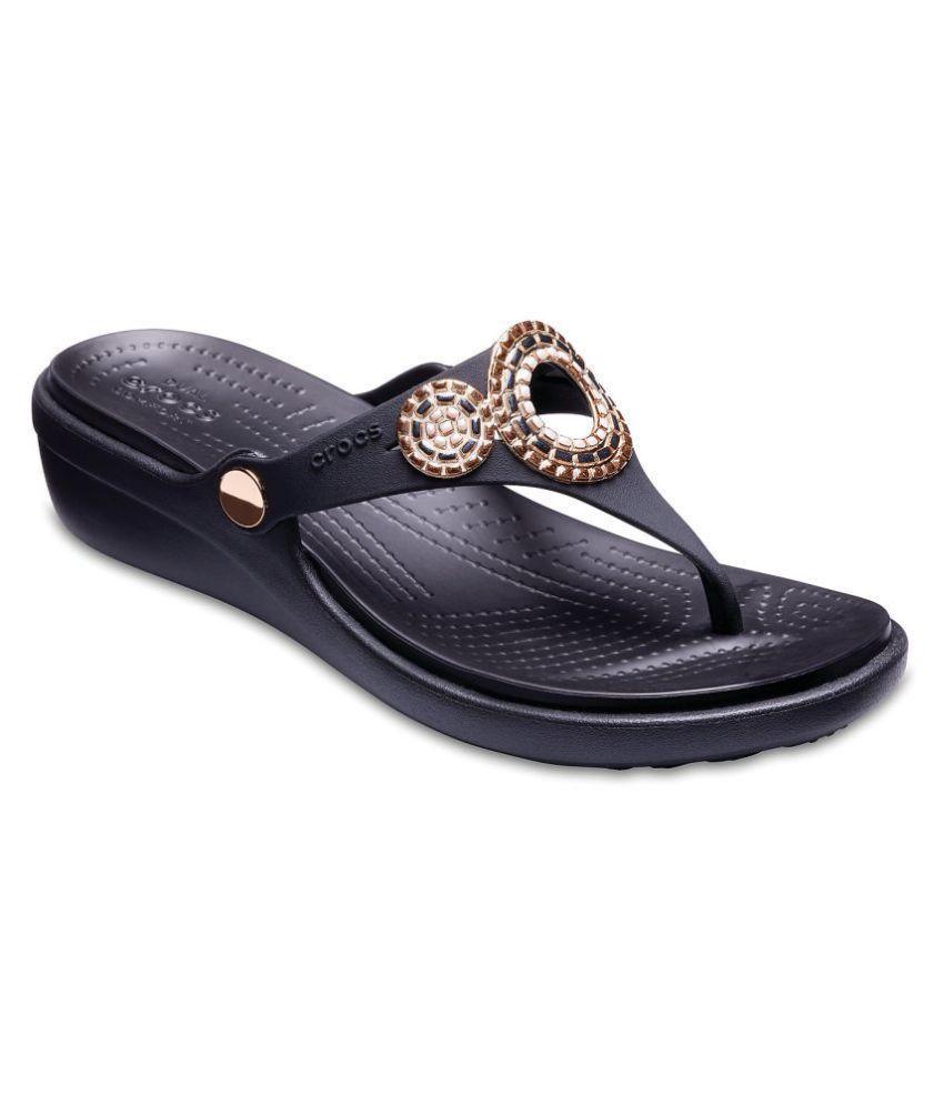 Crocs Black Platforms Heels