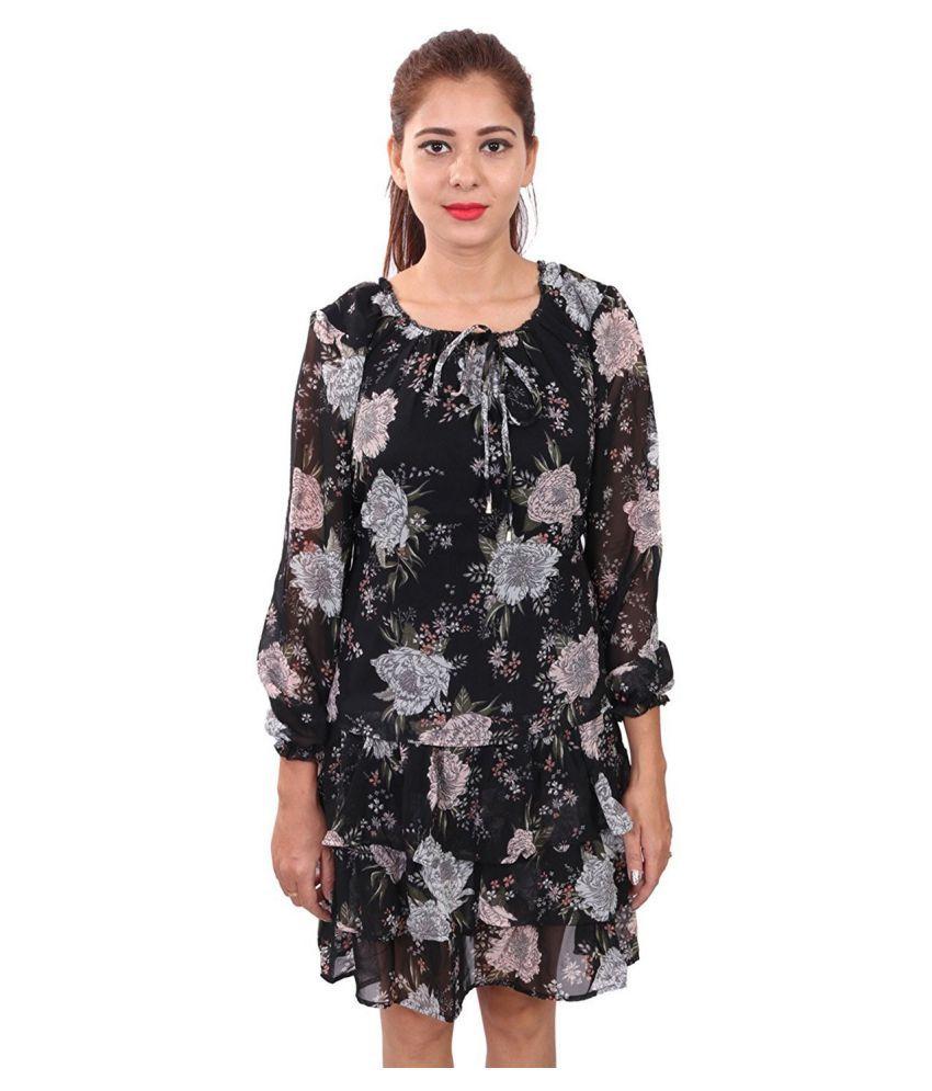 RIVI Georgette Black Fit And Flare Dress