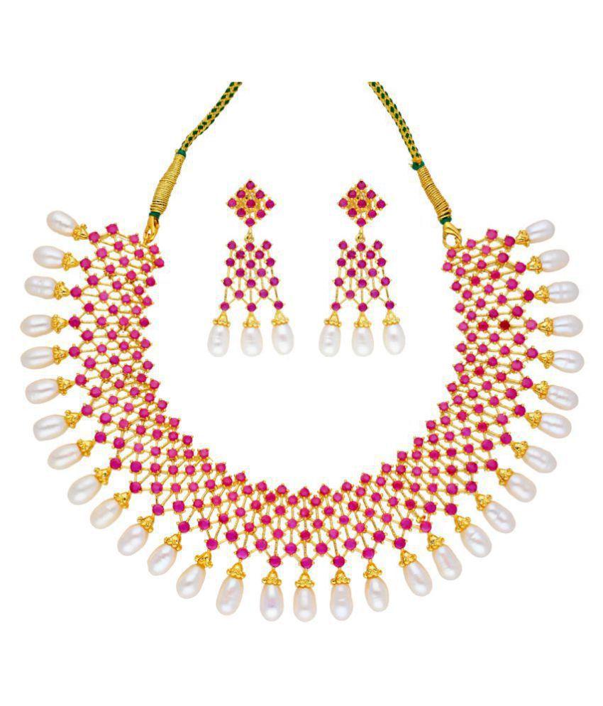 Sri Jagdamba Pearls Alloy Multi Color Choker Contemporary/Fashion Gold Plated Necklaces Set