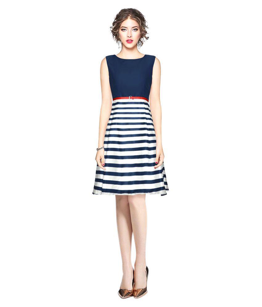 SK Creation Georgette Blue Skater Dress