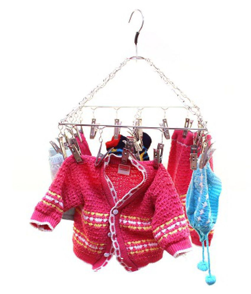 TNC - 25 Clips Plastic Square Cloth Dryer/Clothes Drying Stand/Hanger with Clips (Clothes Peg)