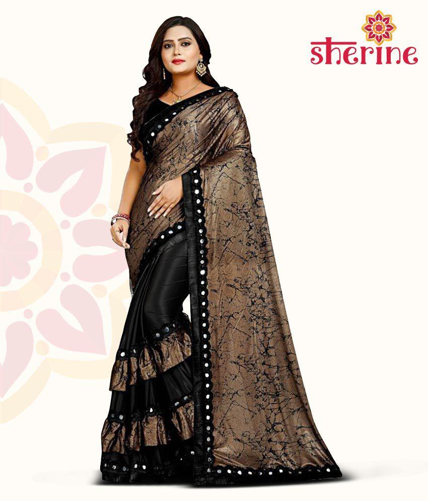 Sherine Black Frills Lycra Saree