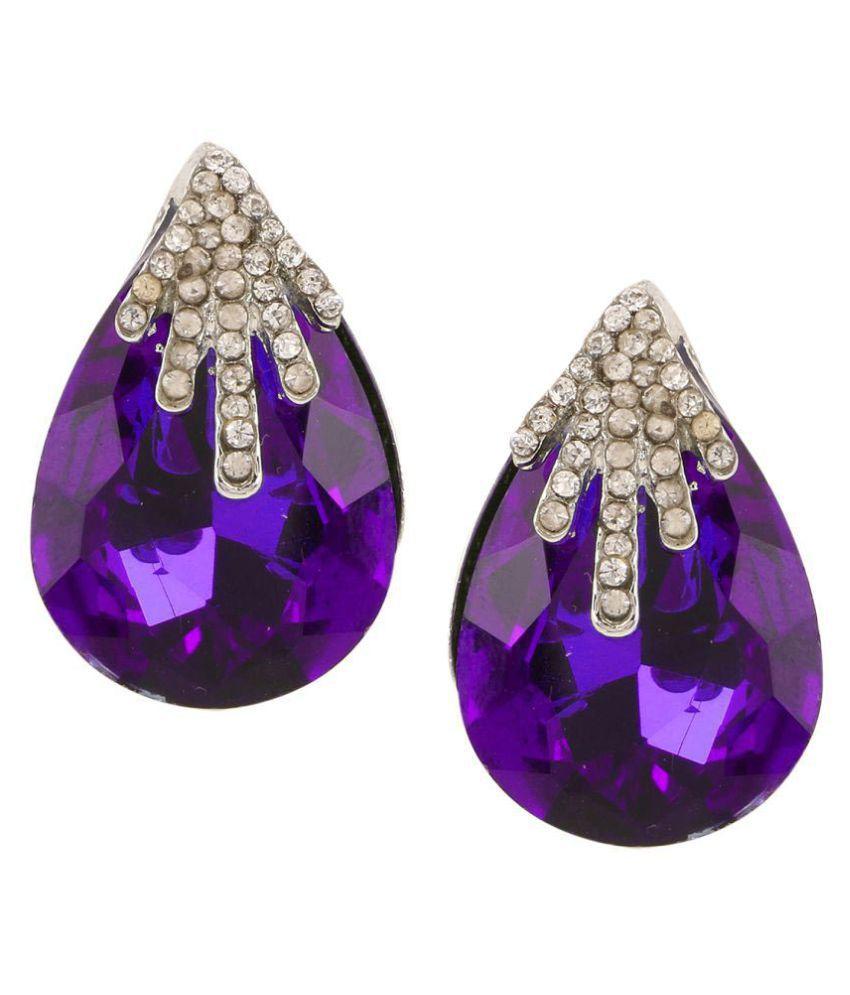 Parinaaz Jewellery Trendy Gold Plated Purple Fancy Party Wear Stud Earrings for Girls and Women