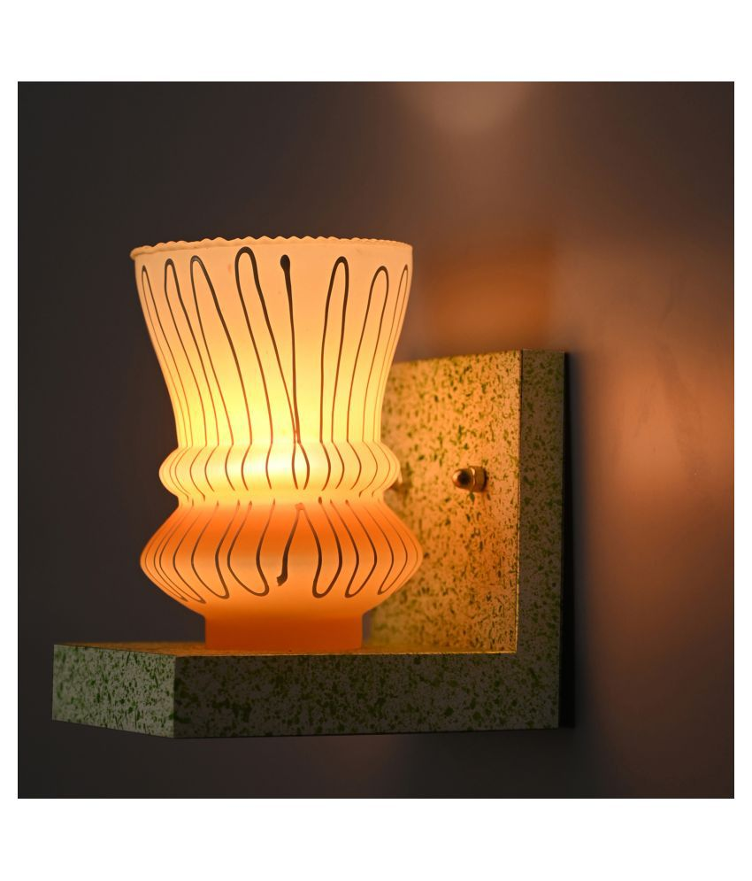 AFAST Chair Shape Wood Fitting Shade Glass Wall Light Yellow - Pack of 1