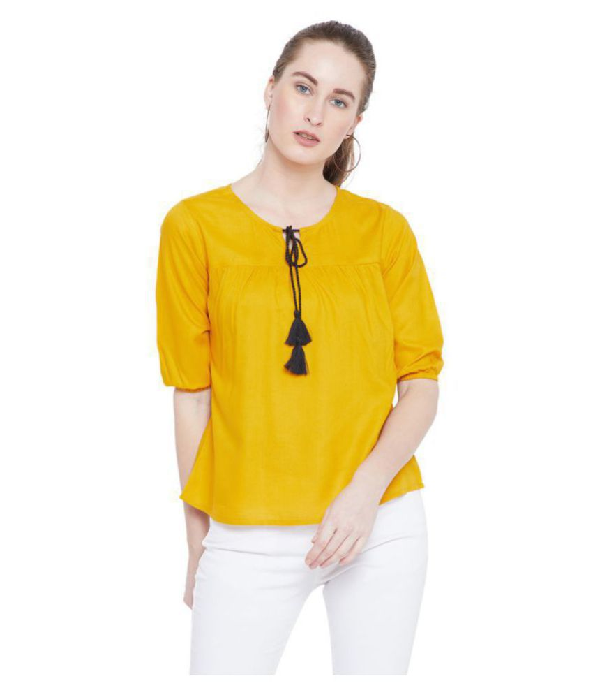 The Dry State Rayon Regular Tops - Yellow
