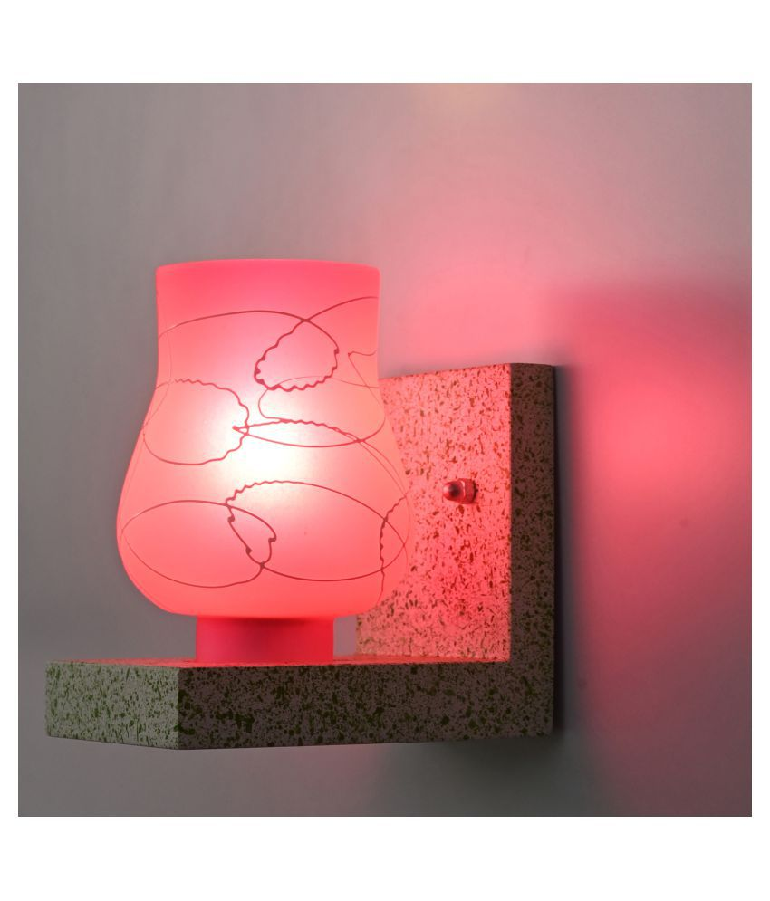 Somil Chair Shape Wood Fitting Shade Glass Wall Light Pink - Pack of 1