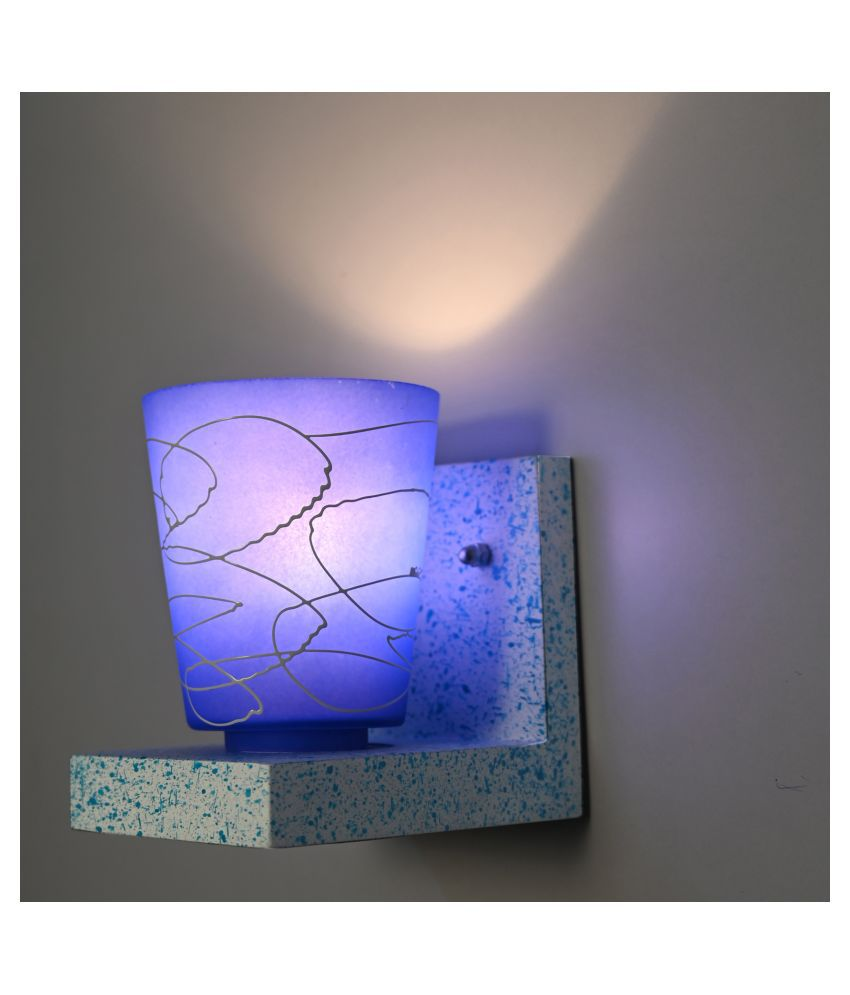 Somil Marble Look Wood Fitting Shade Glass Wall Light Blue - Pack of 1