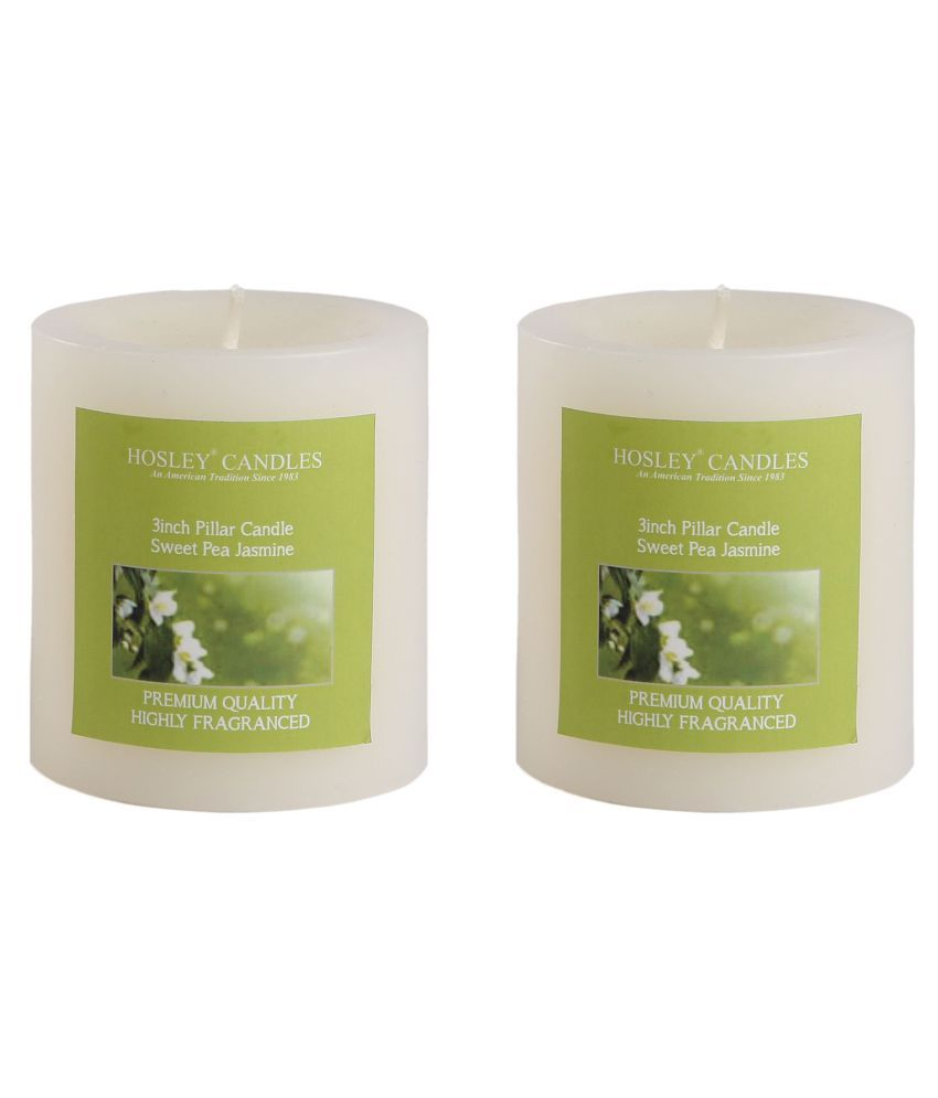 Hosley Yellow Pillar Candle - Pack of 2