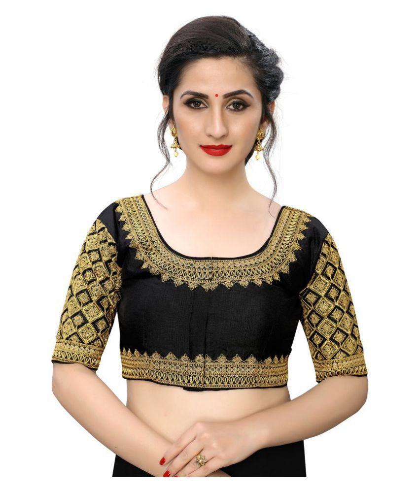 PRAFULBHAI KANTILAL RACHHADIYA (HUF) Black Silk Readymade with Pad Blouse
