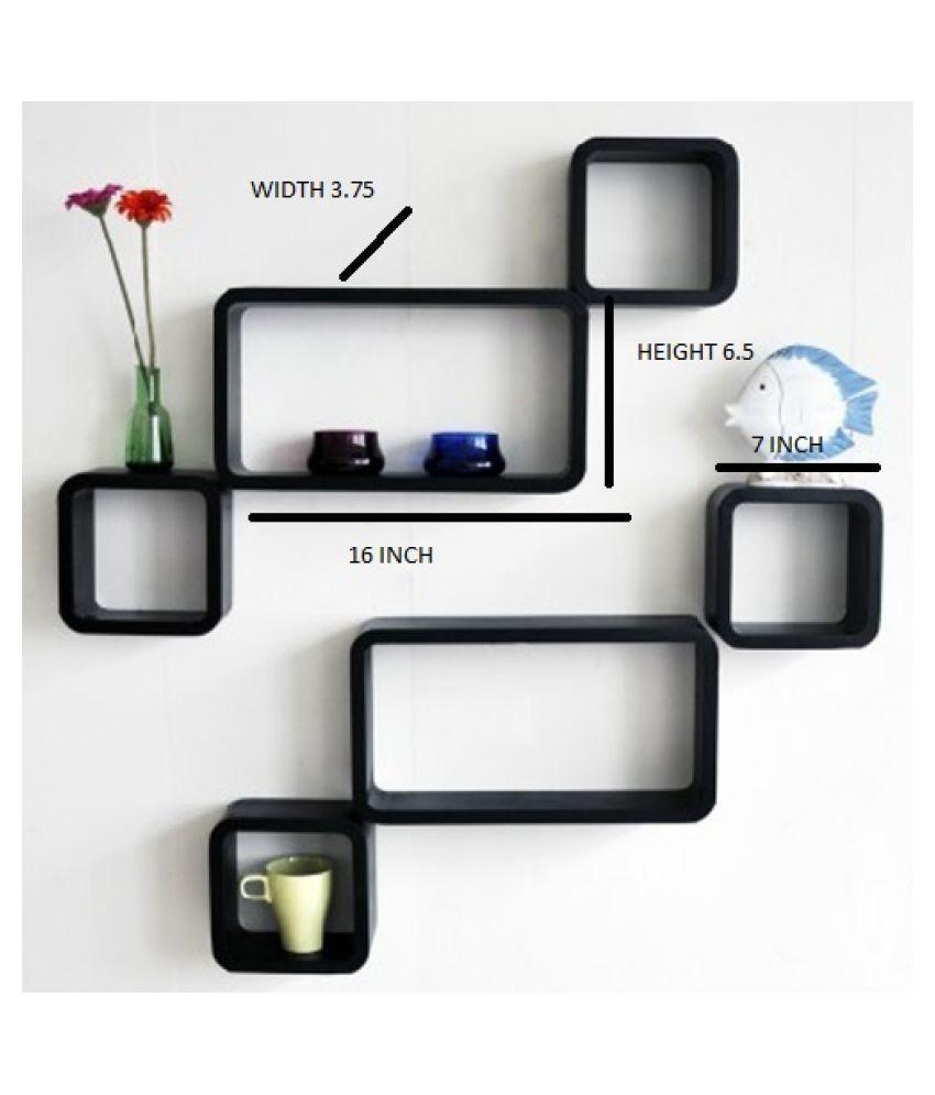 The New Look Elegant Wooden Wall Shelf  Number of Shelves   6, Black