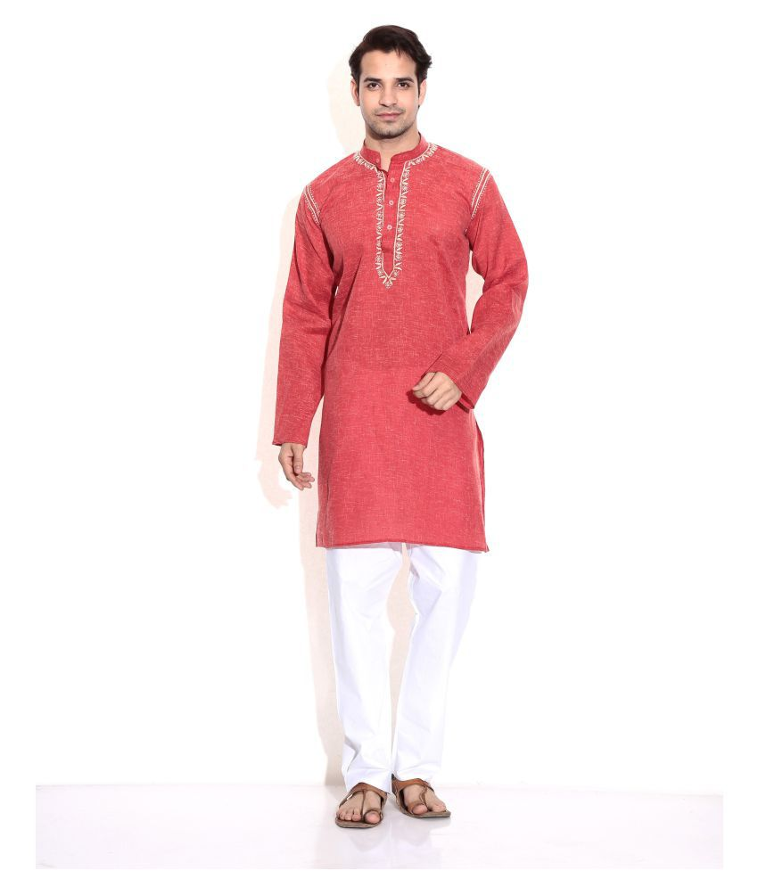 Bhartiya Red Cotton Blend Kurta Pyjama Set Pack of 1