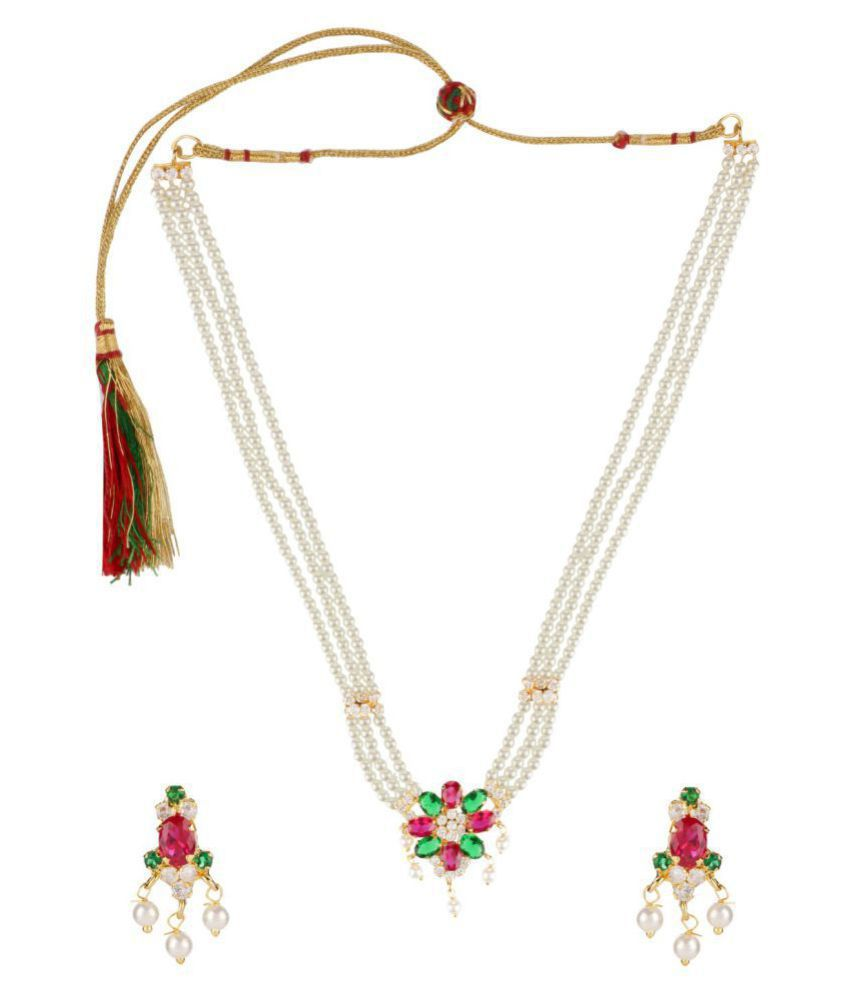 Efulgenz Alloy Multi Color Choker Traditional 18kt Gold Plated Necklaces Set