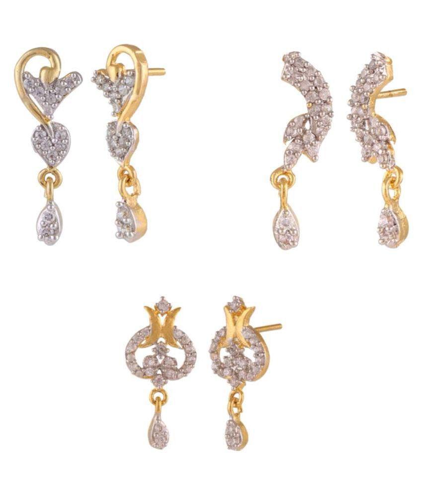 Efulgenz Golden Earrings - Pair of 3