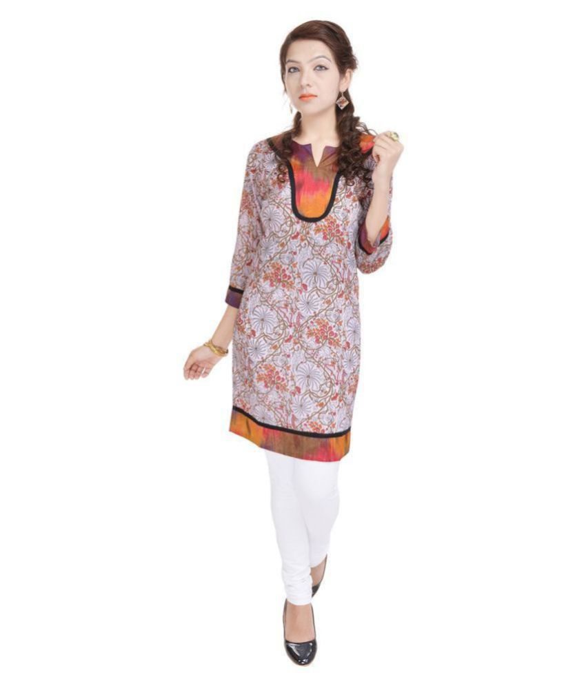Aprique Fab Orange Cotton Straight Kurti