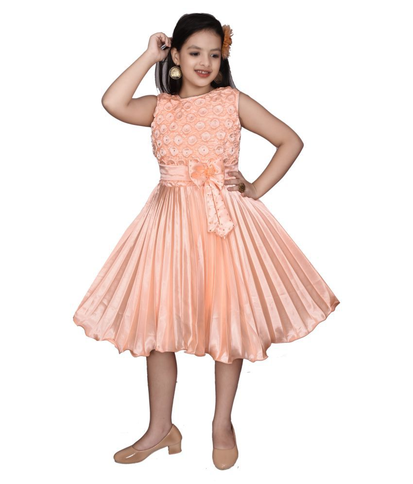 High Fame Girls Light Orange Party Wear Dress