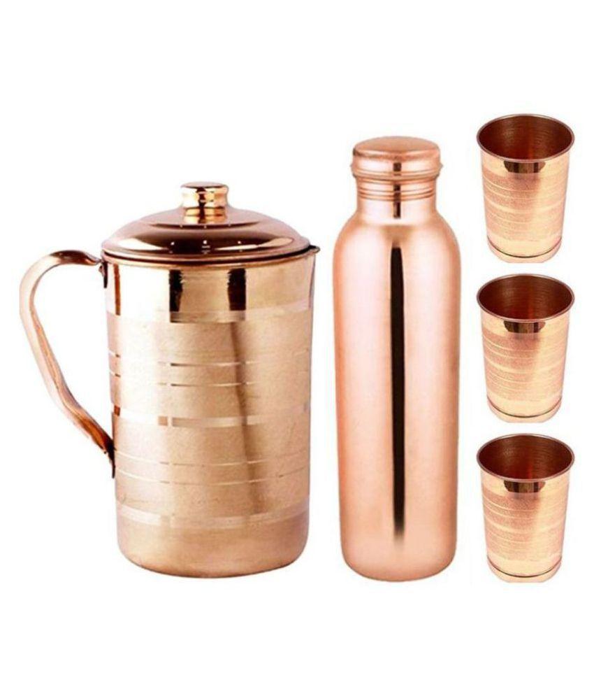 KC Copper 1.5L Jug, 1L Water Bottle and 300ml  3 Glass | 5 Pcs Combo