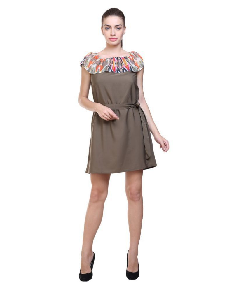 Uvr Poly Crepe Green A- line Dress