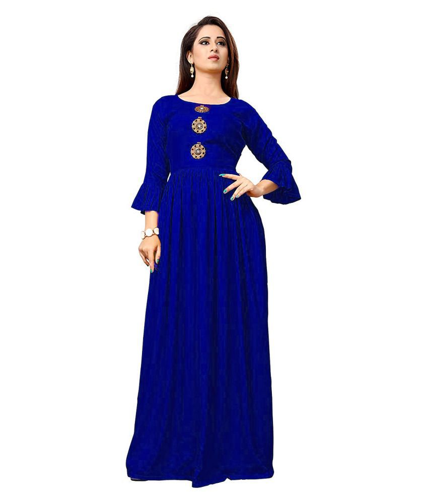 Frionkandy Rayon Blue A- line Dress