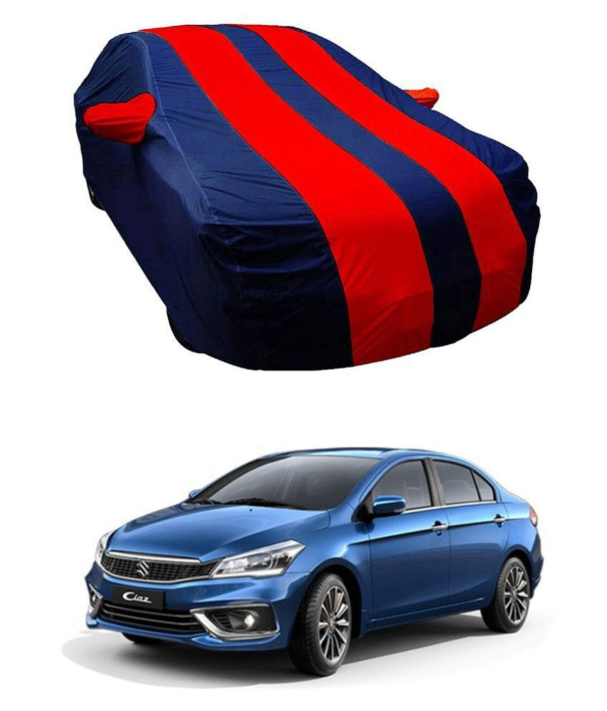 EKRS Dust-proof Car Body Covers For Maruti Suzuki CIAZ with Mirror Pockets, Triple Stitching & Light Weight (Navy Blue & RED Color) Model 2019-20