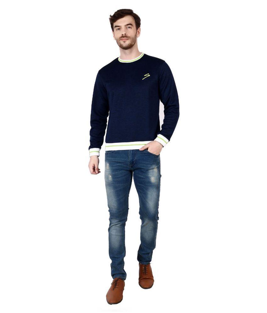 SG Navy Polyester Viscose Fleece Sweatshirt
