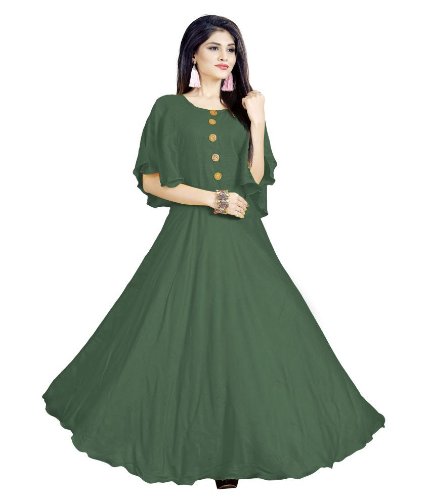 SAI TELECOM Rayon Green A- line Dress