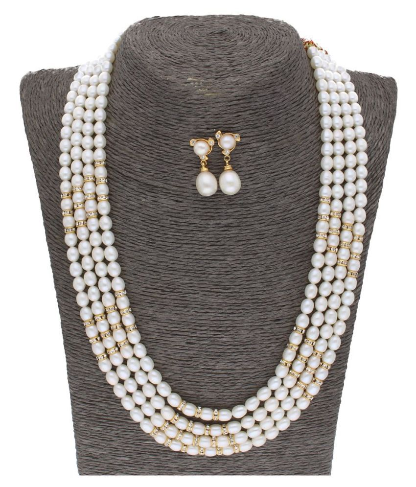 Sri Jagdamba Pearls Pearls White Contemporary Contemporary/Fashion Gold Plated Necklaces Set