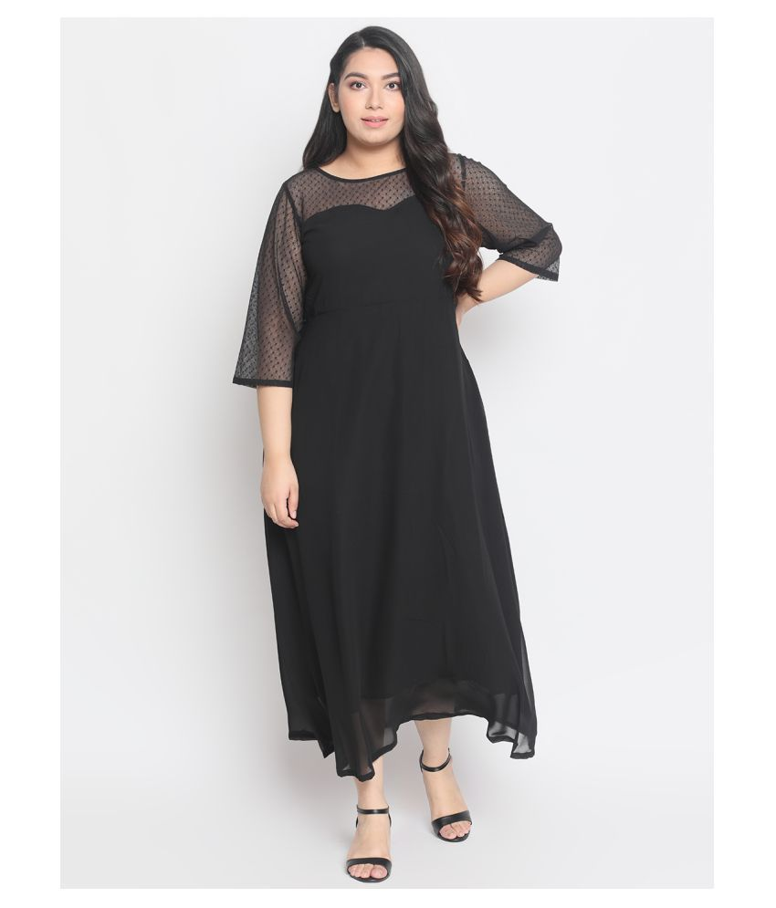 Amydus Georgette Black A- line Dress