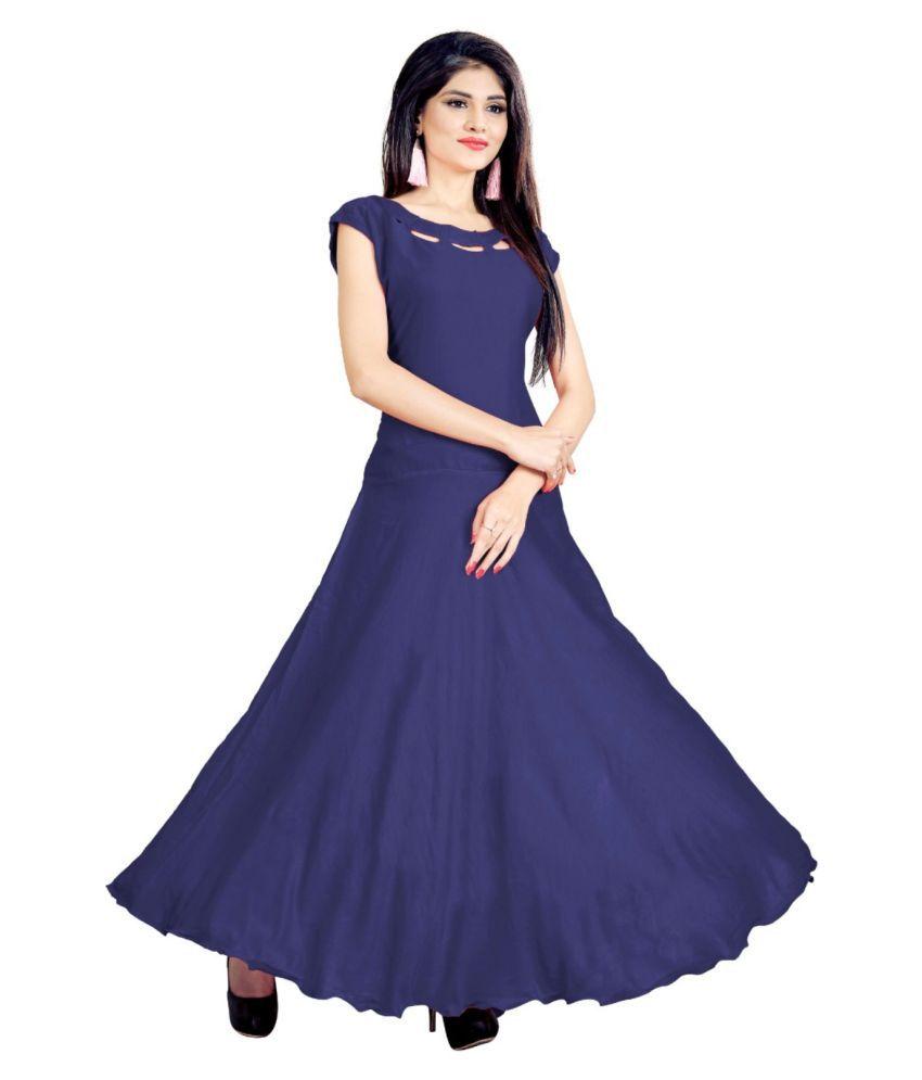 SAI TELECOM Rayon Blue A- line Dress