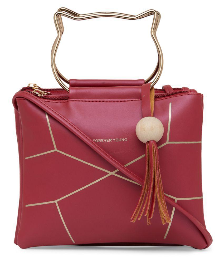 Shopping Feast Red P.U. Sling Bag