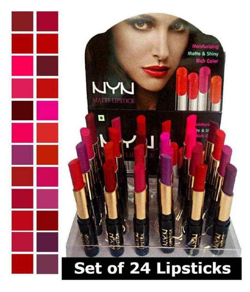 NYN Matte Waterproof Lipsticks - Pack of 24
