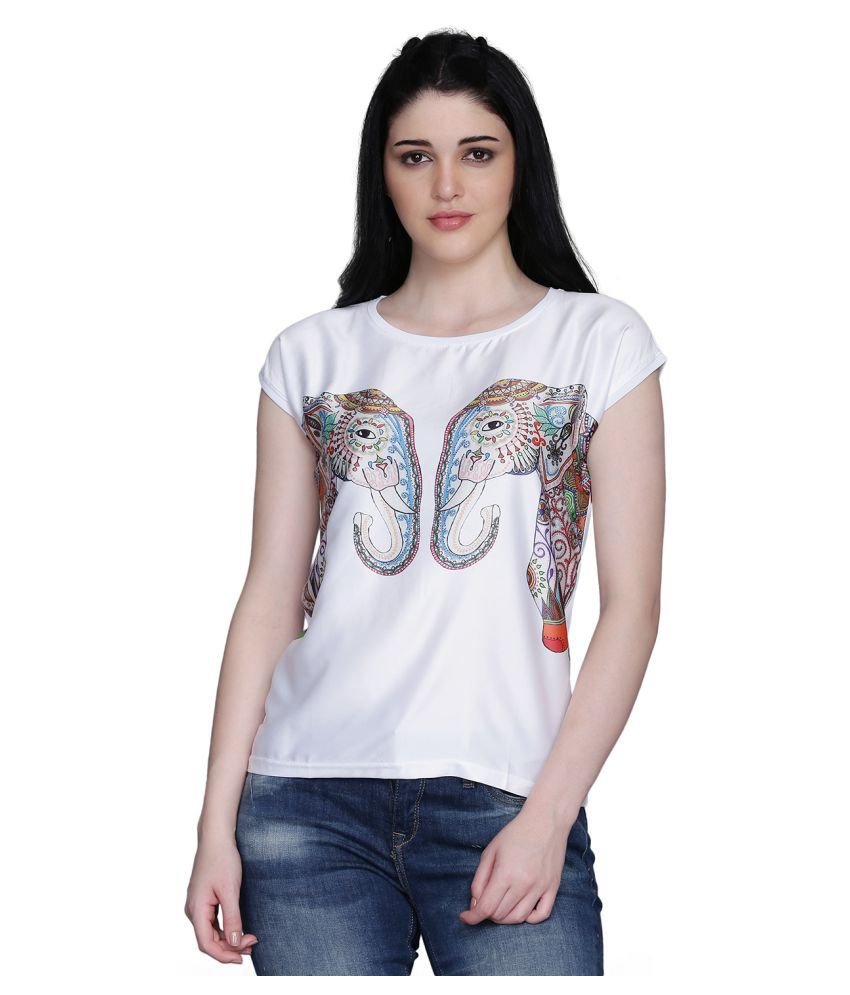 manisha Fashion Poly Satin White T-Shirts