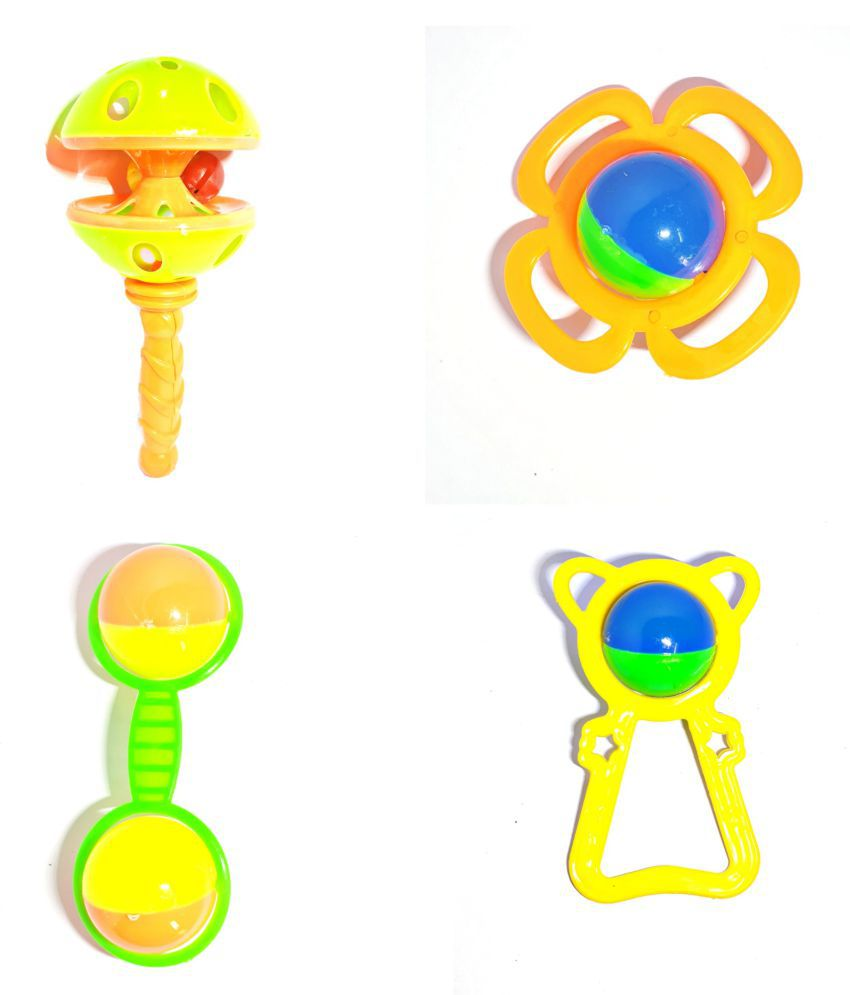 MJ@ 4 PCS Set Infants Colourful Rattle Toys for Toddler Based on Theme of Sound Shaking for Babeis