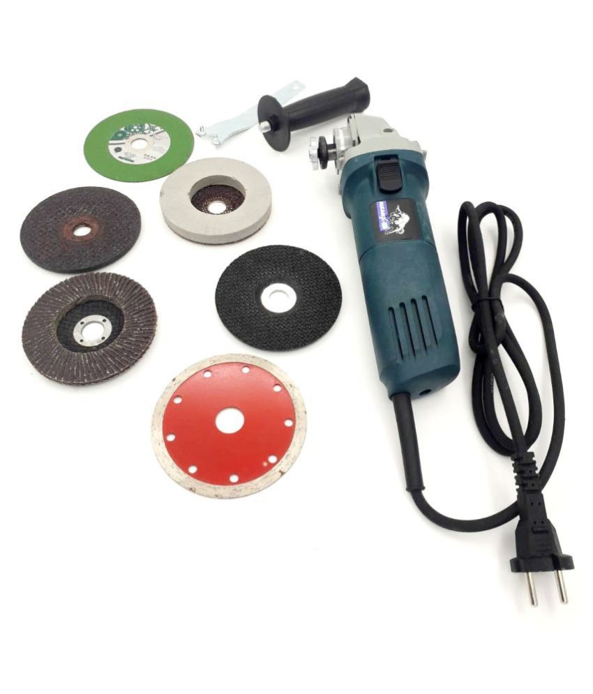 100 % COPPER COIL 4 INCH ANGLE GRINDER MACHINE WITH GRINDING & CUTTING WHEEL