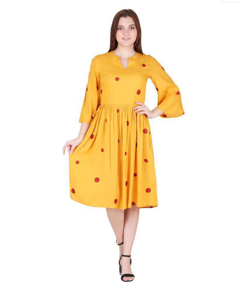 litlu Viscose Yellow Regular Dress