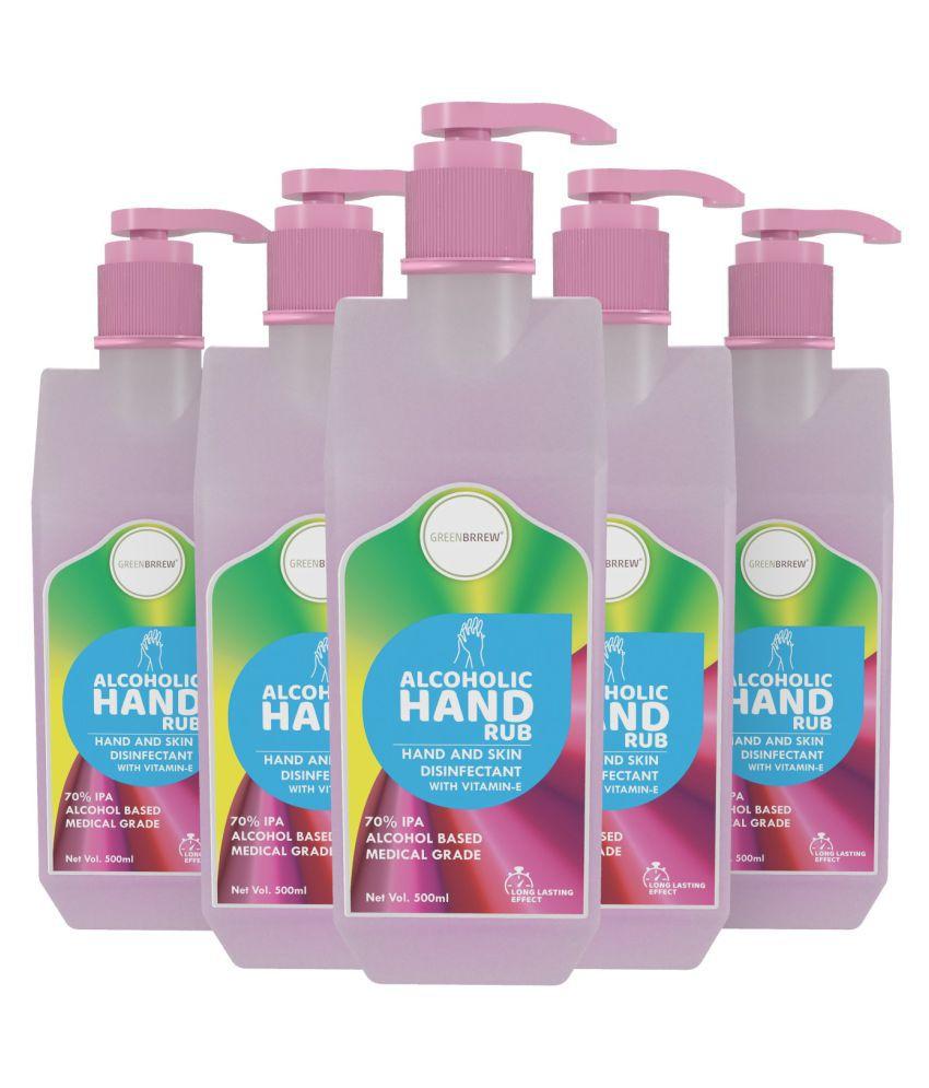 Greenbrrew Hand Rub Sanitizer 70% IPA Alcohol With Vitamin-E, Aloe Vera & Neem Extract, 500ml (Pack of 5)