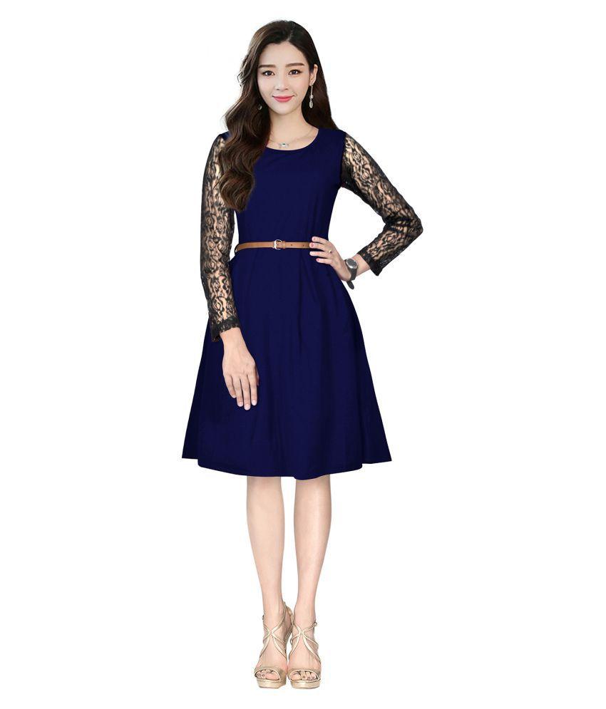 SK Creation Crepe Blue Skater Dress