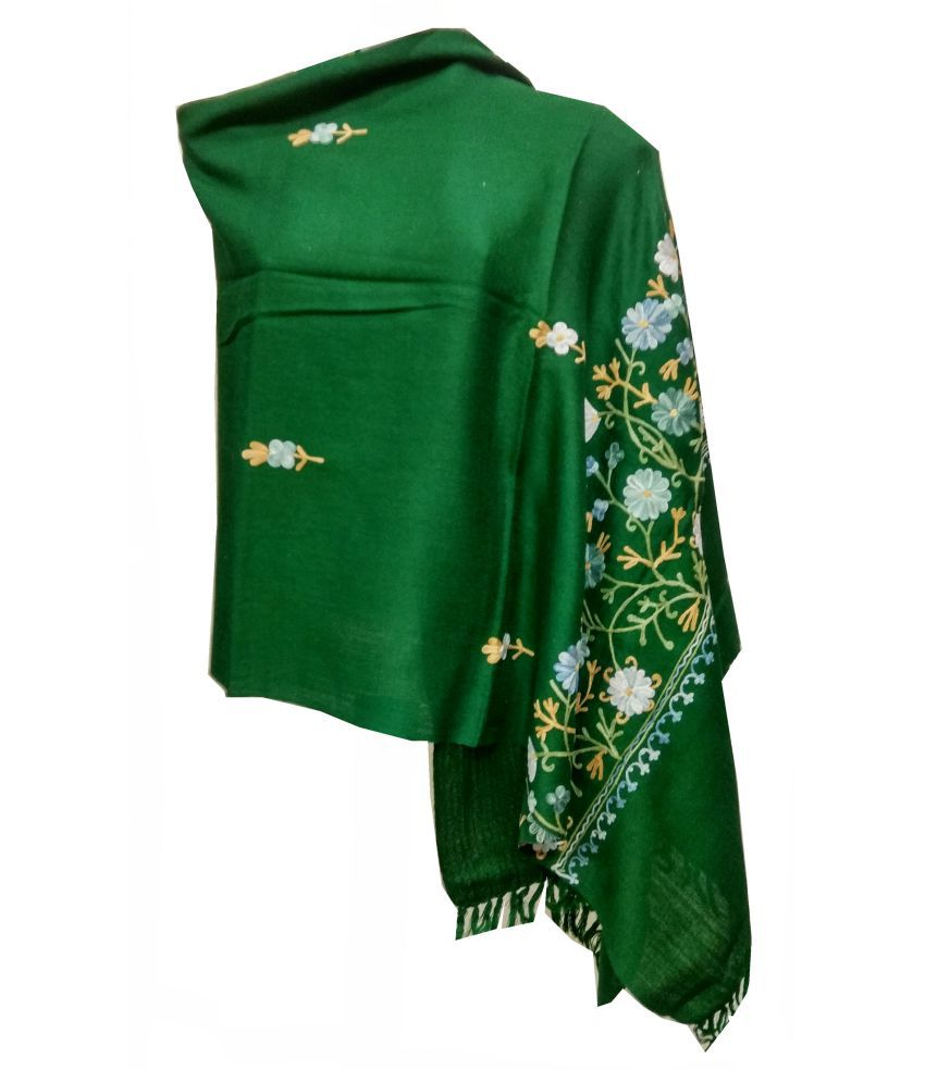shah art gallery Green Floral Wool Stoles