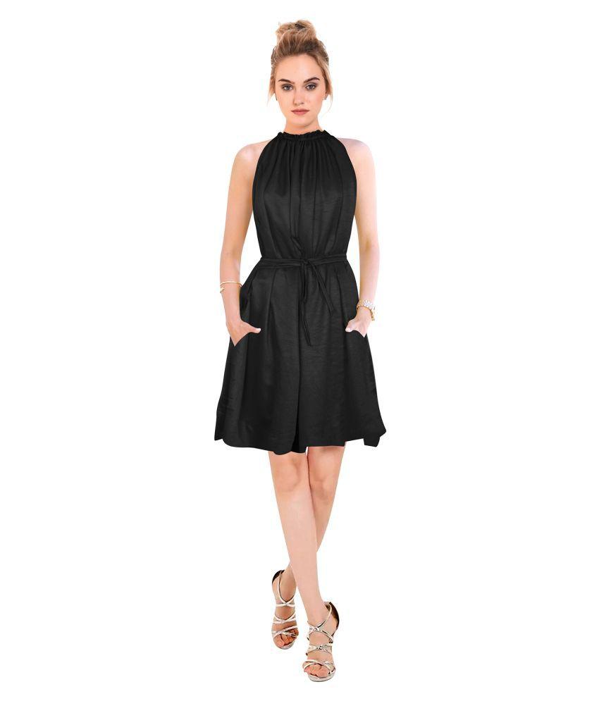 SK Creation Crepe Black Skater Dress