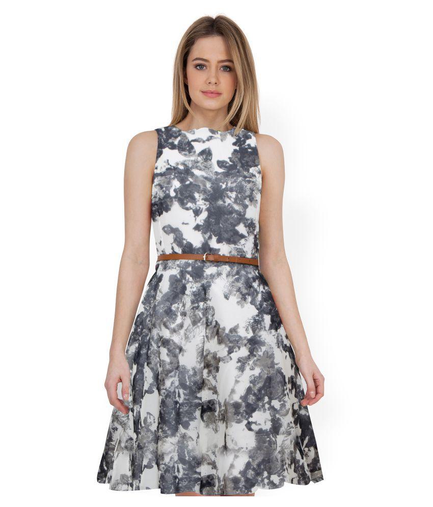 SK Creation Georgette Grey Skater Dress