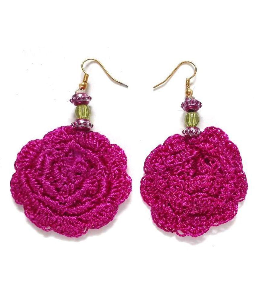 Unique Indian Crafts Handmade Artifical Jewellery Crochet Multi-colour drop flower  earring