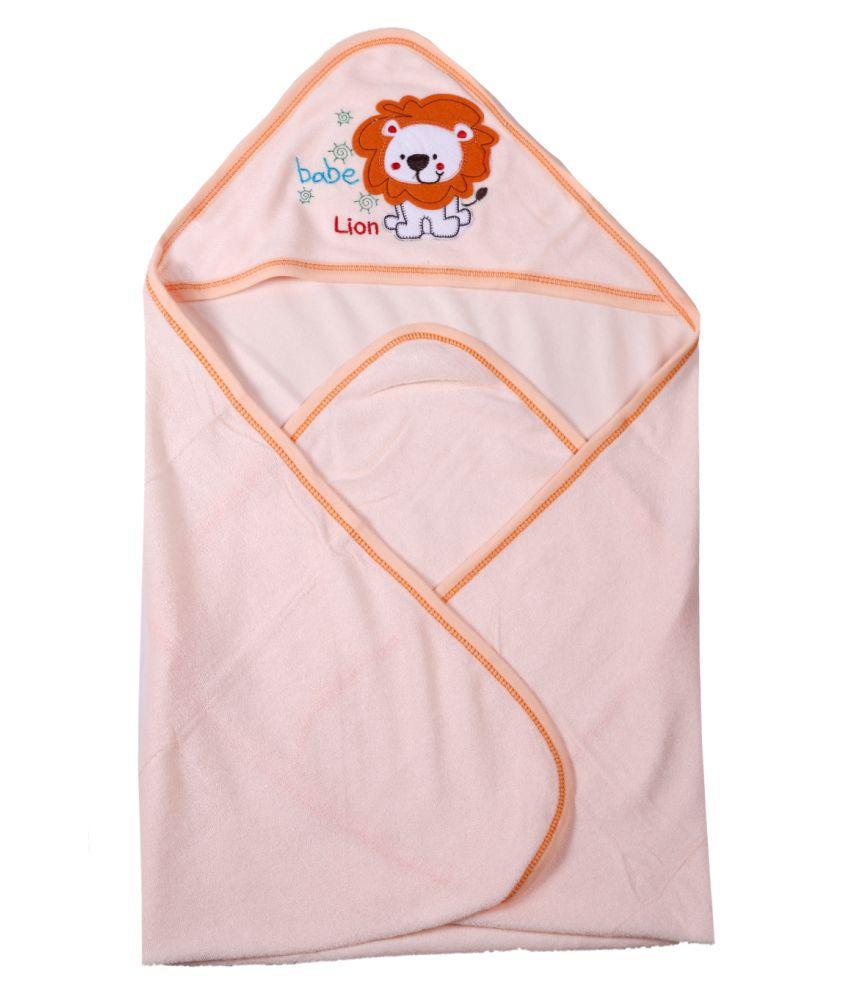 dorokids Orange Fleece Baby Wrap cum blanket ( 30 cm × 30 cm - 1 pcs)