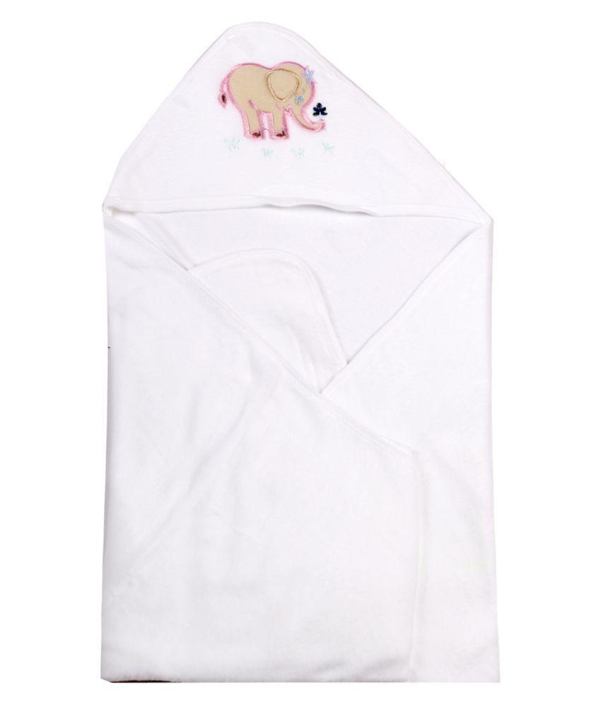dorokids White Fleece Baby Wrap cum blanket ( 30 cm × 30 cm - 1 pcs)