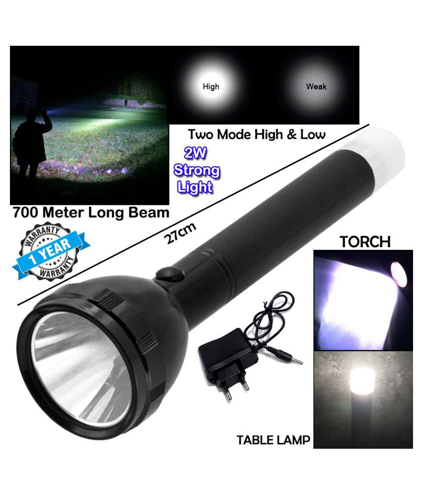 2in1 700 Meter Long Range 3 Mode Rechargeable High Power Waterproof Table Lamp 2W Flashlight Torch Outdoor Search Light - Pack of 1